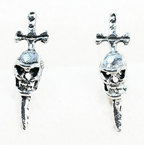 Flamingo Goblet Set (Real 925 Sterling Silver Earring Stud Ear Stud Sword Skull Black Oxidized, Size: 15mm long & 3mm wide)
