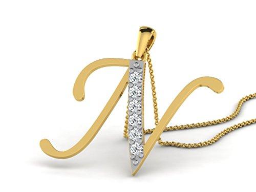 Or Jaune 18 ct Pendentifs Diamant en forme de N alphabet, 0.13 Ct Diamant, GH-SI, 0.93 grammes.