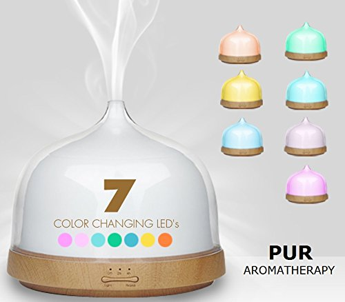 LED 7 Color Aromatherapy 200 ml Therapeutic Essential Oils Diffuser Acrylic Top and Wood Grain Ultrasonic Cool Mist Humidifier - Use for Office Home Baby Yoga Spa Studio Anytime Unique Gifts