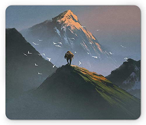- Mountain Mouse Pad, Trekker Man Standing at The Top of Mountain with Flying White Birds Painting Style, Standard Size Rectangle Non-Slip Rubber Mousepad, Multicolor