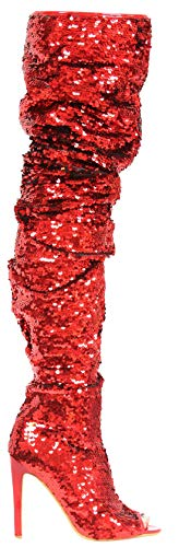 Weboo Dazzle Women Thigh High Over Knee Sequin Sparkle High Heel Open Toe Boots Red 7