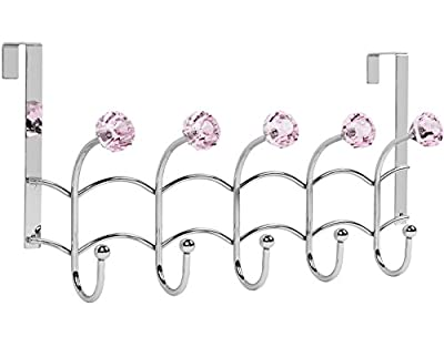 Galashield Over The Door Hook Rack 5 Pink Acrylic Hooks and Stainless Steel Organizer Rack (10 Hanging Hooks)