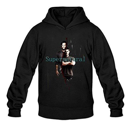 Crystal Men's Supernatural Dean Sam Winchester Long Sleeve Hoodied Sweatshirt Black US Size M