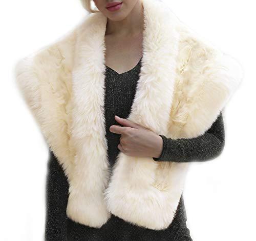 Discount Veils Wedding (QZUnique Women's Faux Fur Shawl Wraps Stole Shrug Winter Cover Up Beige)