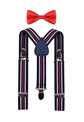 White Stripe Boys Tie (BODY STRENTH Kids Boys Girls Suspenders and Bow tie Set Black White Red Stripe)