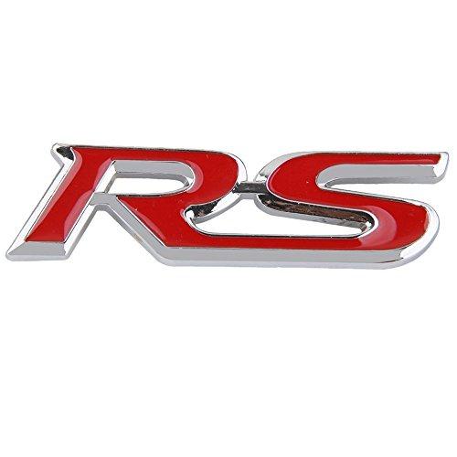 RS 3D Badge - SODIAL(R)Embleme 3D RS en Metal Insigne Logo Decor de Calandre pour Voiture Rouge+Argent 70%OFF