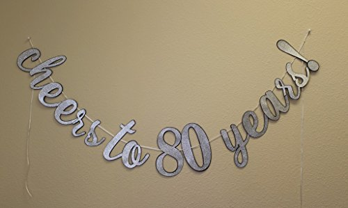 All About Details Cheers to 80 Years! Cursive Banner, 1 Set, 80th Birthday Banner (Black & Silver)