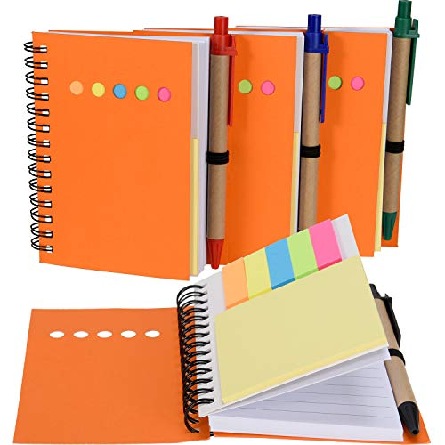 (Maxdot 4 Pieces Kraft Paper Steno Pocket Business Notebook Spiral Lined Notepad Set with Pen in Holder, Sticky Colored Notes Page Marker Tabs (Orange Cover))