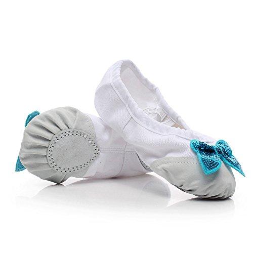Cystyle Gute Qualität Ballettschuhe weich Ballet Trainings Schläppchen Schuhe für Mädchen/Damen mit Bowknot Pailletten WeIss mit Lederkopf