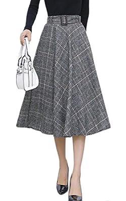 Etecredpow Women's High Waist Casual Plaid Swing Fall/Winter Wool Blend Long Skirts