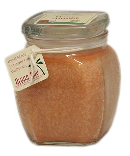 Aloha Bay Coconut Wax Square Top Jars - 60 hour burn time (13.5oz, Honey Amber - Terracotta - Labdanum, Palmarosa)