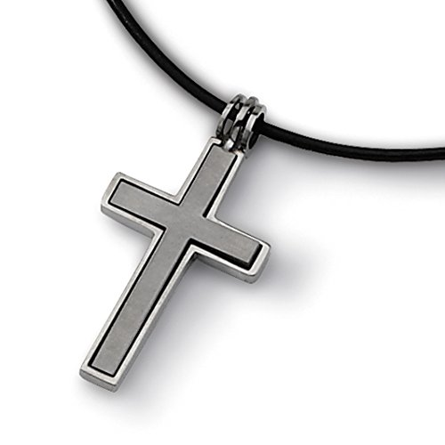 Titanium Leather Cord Cross 18in Necklace