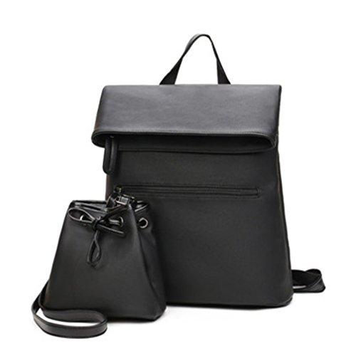 2 PCS/SET Mujer Mochila mochila de cuero pu mujer mochilas escolares para adolescentes Negro