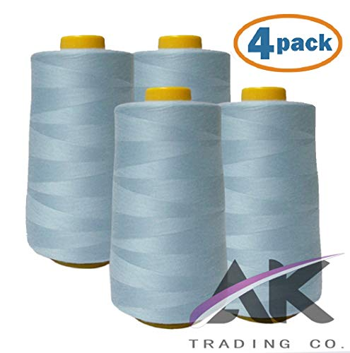 AK Trading 4-Pack Light Blue All Purpose Sewing Thread Cones (6000 Yards Each) of High Tensile Polyester Thread Spools for Sewing, Serger Machines, Quilting, Overlock, Merrow and Embroidery