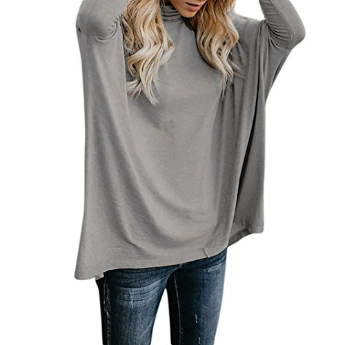 TOPUNDER Women Long Sleeve Blouse Turtleneck Neck Loose Casual Tops by