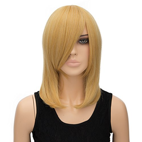 Alacos 40cm Synthetic Heat Resistant Short Side Parting Bob Style Straight Christmas Halloween Anime Cosplay Party Wig Hair with Free Wig Cap (Blonde)]()