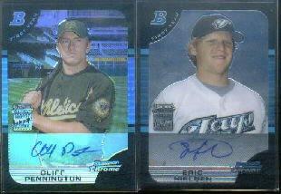 2005 Bowman Chrome Draft Blue Refractors #174 Cliff Pennington Autograph Card Serial #'d/150 ()