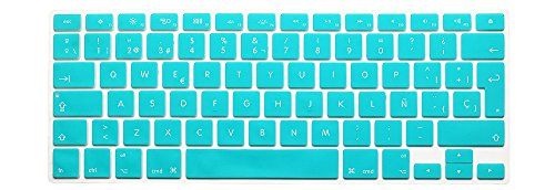 HRH Spanish Silicone Keyboard Cover Skin for MacBook Air 13,Macbook Pro 13/15/17 (with or w/out Retina Display, 2015 or Older Version)&Older iMac EU Layout Keyboard Protector-Aqua Blue