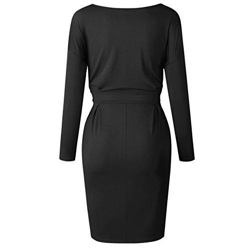 Belt Elegant Short Wear with Work Sleeve Women's Office 92 to Poperdision Casual Dress longblack Pencil Dress BgxTOnq5