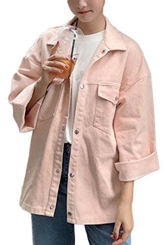 Allentato Manica Vepodrau Le Outwear Ampia Tasche Bottone Pink Giacche PfSWzSqU