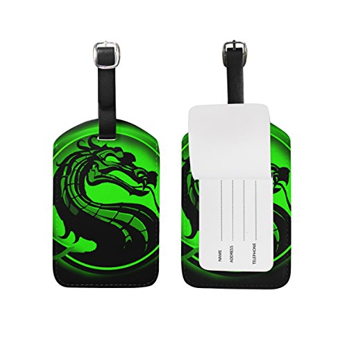 Reptile Mortal Kombat Costumes (Dragon Print Luggage Tags Bag Travel Labels Tag for Baggage Suitcase)