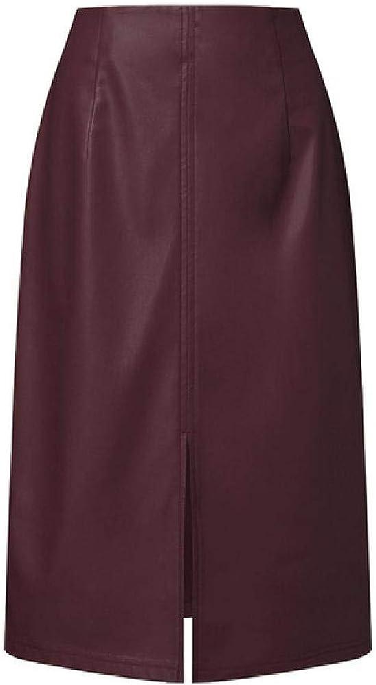 S 3XL Zanzea Mujeres Cremallera Split Faldas Primavera Moda PU Cuero Lápiz Faldas Sólido Paquete de la Cadera Vestidao Mujer Faldas Saia