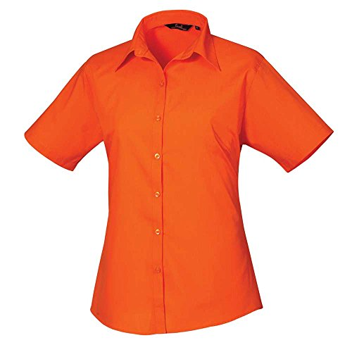 Premier Womens Poplin Long Sleeve Formal Work Blouse Shirt Orange