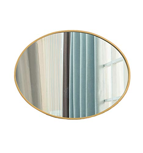 Oval Wall Bathroom Mirror Hanging Mirror | Wall Mounted Vanity Mirror | Circle Make-up Mirror | Metal Iron Frame (Color : Gold, Size : 60×80cm) ()