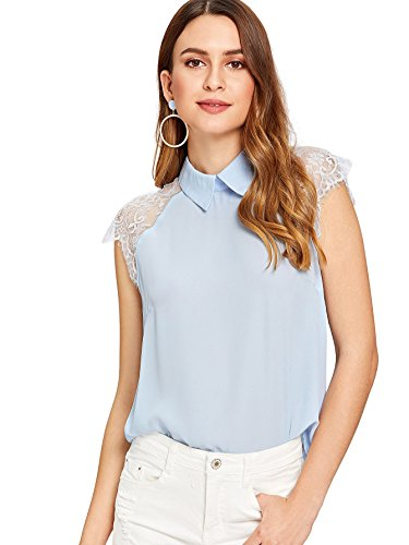 Floerns Women's Lace Splice Peter Pan Collar Cap Sleeve Blouse Tops Blue L