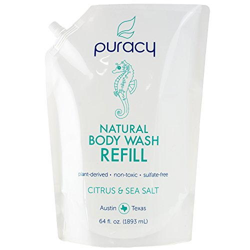 Puracy Natural Body Wash Refill, Sulfate-Free Shower Gel and Daily Cleanser, Citrus and Sea Salt, 64 Ounce Pouch Body Soap Refill