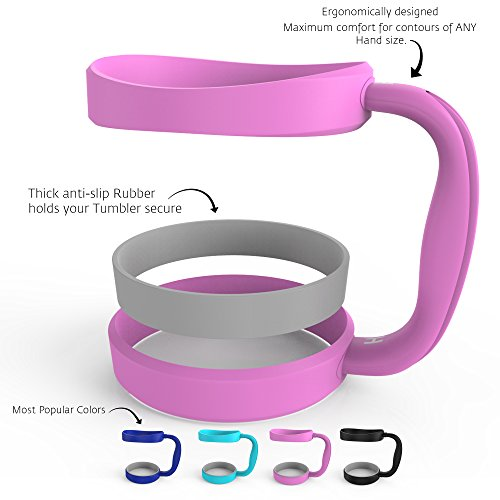 HELMUT - Anti-Slip Color Handle for 30oz Tumblers by HELMUT - Dark Blue, Great Pink, Blue, Black - Best choice of Color Handle for 30oz Yeti, RTIC, Ozark, Tervis and other Cups & Mugs - PINK
