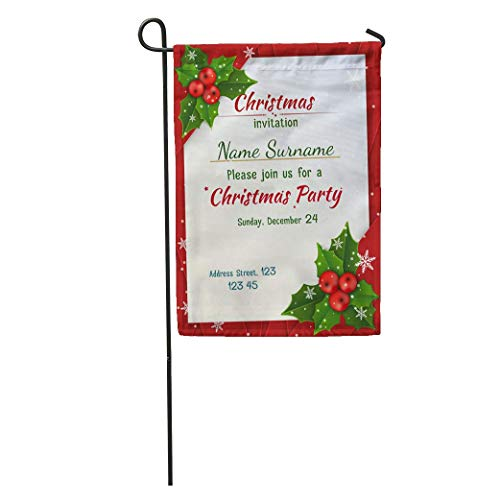 - jiebokejiHFGD Garden Flag Green Holly Christmas Satin Ribbons Red Jolly Party Berries Best Home Yard House Decor Barnner Outdoor Stand 12x18 Inches Flag