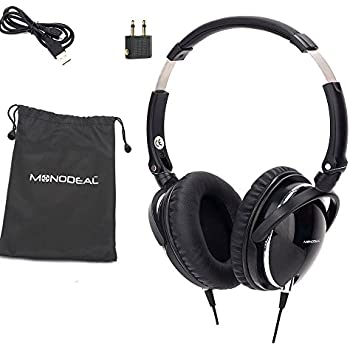 Active Noise Cancelling Headphones with Mic, MonoDeal Overhead Strong Bass Earphones, Folding and Lightweight Travel Headset with Carrying Case - Black