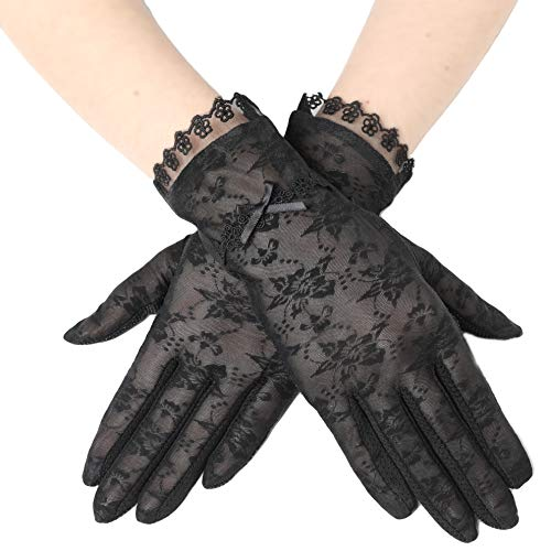 BABEYOND Floral Lace Gloves for Wedding Opera Party 1920s Flapper Lace Gloves Stretchy Adult Size (Black-2)