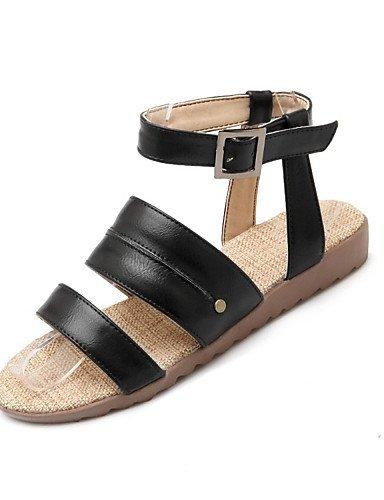 Shangyi Beige Chaussures Extérieur Plates Similicuir Marron Robe Marron Confort Femmes Casual Talon Noir Sandales 77qCtUTw