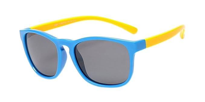BOZEVON Moda Wayfarer Gafas de Sol para Unisexo Niños Niñas Flexible Rubber Retro Polarizadas Gafas,
