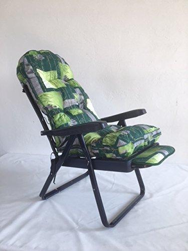 TECNOWEB Ricambio cuscino arrotondato per sdraio con carrello super imbottita col.fondo verde fiori bianchi TECNO CUCI