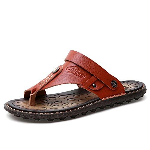 Flip - Flops, Männer - Mikrofaser - Sandalen Lässig Trends, Jugend, Die Sandalen, Beach - Schuhe,Rotbraune,Eu44