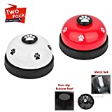 SlowTon Pet Bell, 2 Pack Metal Bell Dog Training with Non Skid Rubber Bottoms Dog Door Bell for Potty Training Clear Ring Pet Tool Communication Device for Small Dogs Cats (red+White) For Sale