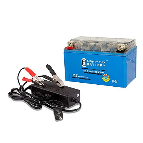 Mighty Max Battery YTZ10S Gel Replaces Yamaha YZF R1 1000 YZFR1TC 05 + 12V 2Amp Charger Brand -