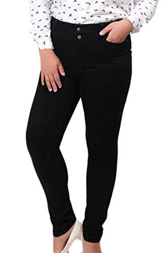 Macondoo Womens Trousers Large Size Stretchy Pencil Jeans Mid Waist Denim Pants Black (Plaid Gaucho Pant)