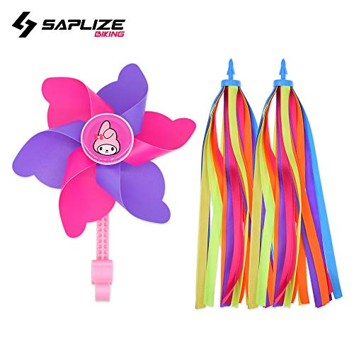 (SAPLIZE Bike Streamer & Pink Bike Pinwheel Windmill, Colorful Decoration Accessories for Kid's Bicycle Handlebar Scooter,)