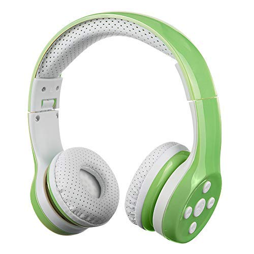 Kids Bluetooth Headphone, Yusonic Wireless Headphones On-Ear headsets with Music Share Port and Built-in Microphone for Calling (Green New)