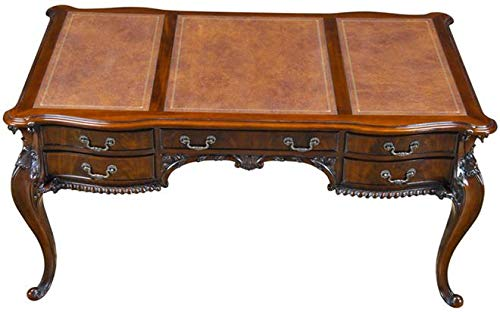 EuroLuxHome Desk French Chippendale Panelled Top Faux Drawers Molding Cabriole Legs D (Legs Cabriole Carved)