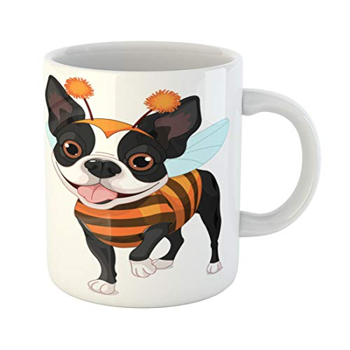 Tinmun 11 Oz Coffee Mug Yellow Boston Terrier Dressed Up Like Bee for Halloween Decor Lover Funny Mug Birthday Gift Coffee Tea Cup Mugs]()