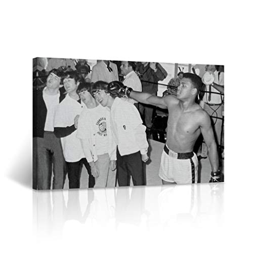 Muhammad Ali and The Beatles Punching Funny Photo Canvas Print Black and White Wall Art Home Decor Artwork Stretched - Framed Ready to Hang -%100 Handmade in The USA 30x40