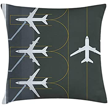 Ambesonne Airport Throw Pillow Cushion Cover, Aviation Themed Simple Illustration of Parked Airplanes Landed in Airfield, Decorative Square Accent Pillow Case, 20