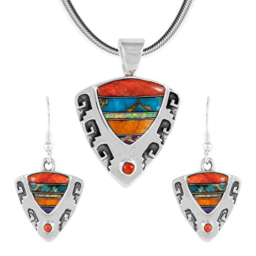 925 Sterling Silver Matching Pendant & Earrings Set with Genuine Gemstones 20