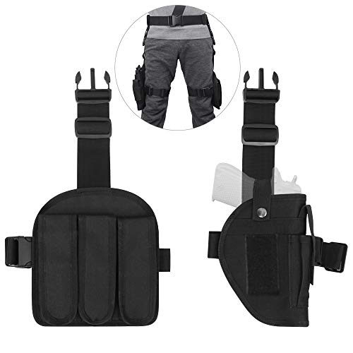 (DONGKER Drop Leg Gun Holsters Adjustable Tactical Airsoft Thigh Holster, 3 pc Molle Gun Holster with 3 Magazine Pouches Universal Dual Thigh Pistol Leg Holster for Left/Right Handed Detachable)