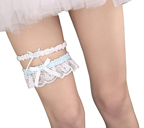 Merya Dress Lace Wedding Garters for Bride Pearl Stretch Prom Garter with Toss Away Blue-A